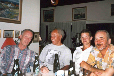 Allan, Johnny, Barnaby (Allan's son) and Mike Silver - at Gerd Parkholt's place - Skagen Festival 1999